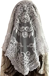 White Mantilla Catholic church chapel scarf Embroidery lace Mass