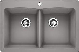 "BLANCO 440219 Diamond Equal Double Bowl Kitchen Sink, Metallic Gray Finish, 33"" L X 22"" W X 9.5"" D"