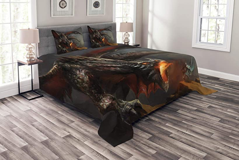 Lunarable Medieval Bedspread Set Queen Size, Fantasy Scene Fearless Knight Dragon Mythology Art Antique, Decorative Quilted 3 Piece Coverlet Set 2 Pillow Shams, Dimgrey Charcoal Grey Orange