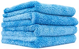The Rag Company (4-Pack 16 in. x 16 in. Eagle EDGELESS 500 Professional Korean 70/30 Super Plush 500gsm Microfiber Detailing Towels (16x16, Blue)