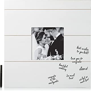 Pearhead Shiplap Wedding Signature Frame, Unique Guestbook Alternative, Perfect Wedding Keepsake, White