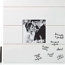 Pearhead Shiplap Wedding Signature Frame, Unique Guestbook Alternative, Perfect Wedding Keepsake, White