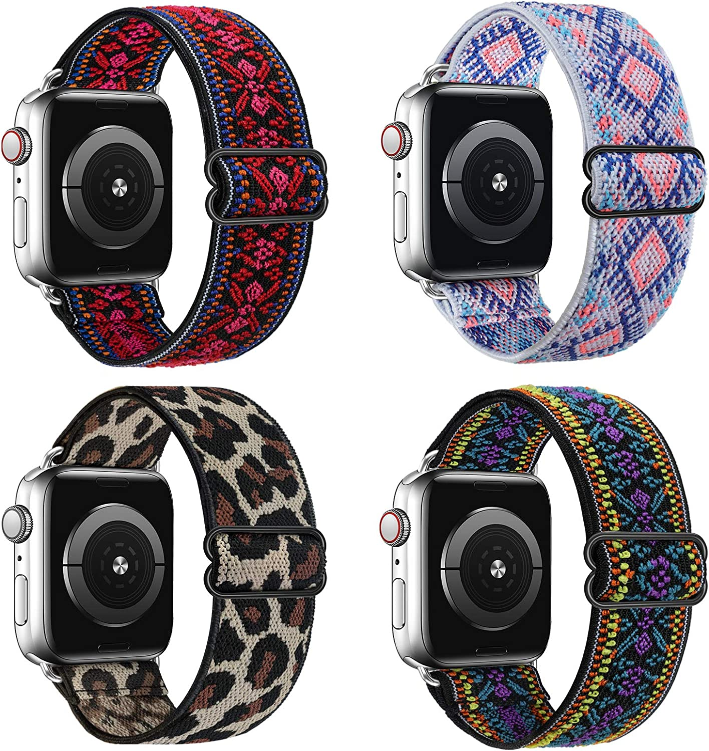 Huishang 4 Pack Adjustable Stretchy Solo Loop Band Compatible with Apple Watch Bands 38mm 42mm 40mm 44mm for Women, Boho Pattern Soft Strap Replacement Wristband for iWatch Series 6/5/4/3/2/1, SE