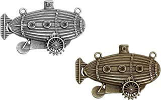 Zeppelin Airship Steampunk 4 Pack Pendant Charm Connectors, DIY Costume or Jewelry, Silver and Bronze