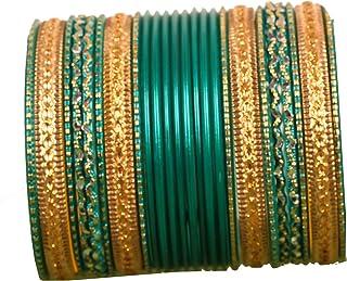 مجموعة أساور من تاتشستون مكونة من 2 دزينة من سبائك بوليوود الهندية المصنوعة من سبائك معدنية مزخرفة بالألوان ومصنوعة من الم...