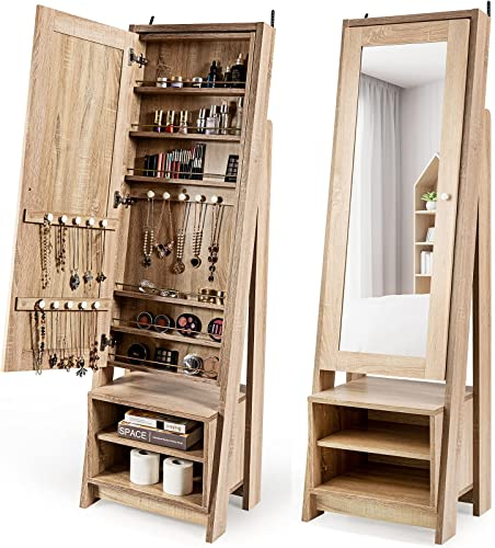 popular CHARMAID Large Jewelry Armoire sale Cabinet with Full Length Mirror, new arrival Standing Wooden Jewelry Cabinet Organizer with Storage Shelves, Modern Bedroom Makeup Jewelry Storage Cabinet outlet sale