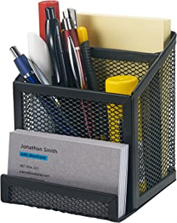 Bonsaii Home office Metal Mesh Desktop Organizer 3 Divided Compartments,Black(W6023)