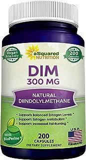 DIM Supplement 300mg Plus BioPerine - 200 Veggie Capsules - Diindolylmethane DIM Max Strength Pills to Support Estrogen Metabolism & Balance, Menopause Relief, PCOS, Hormonal Acne