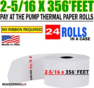 2 5/16 x 356 Thermal Paper Rolls - BPA Free (24 Rolls) Pay at The Pump Thermal Rolls - Made in USA from RegisterRoll
