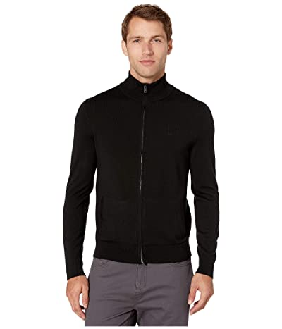 Calvin Klein Merino Full Zip Sweater (Black) Men