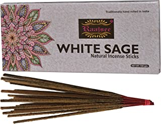 raajsee White Sage Incense Sticks 100 GMS Pack- 100% Pure Organic Natural Hand Rolled Free from Chemicals-No Dipping -Perf...