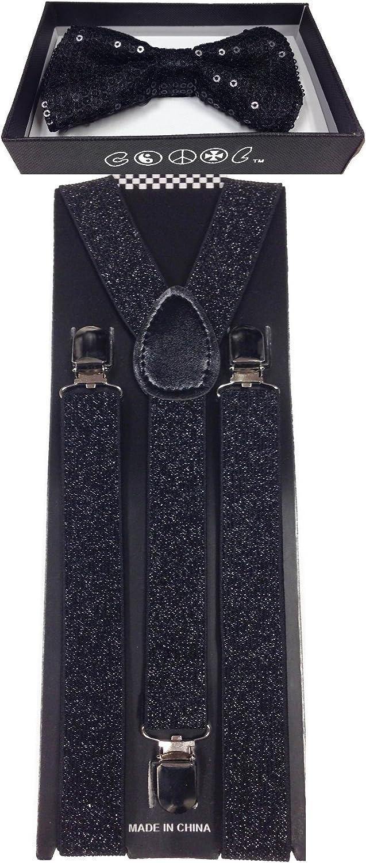 4everStore Unisex's Sequin Bow tie & Suspender Sets (Black)