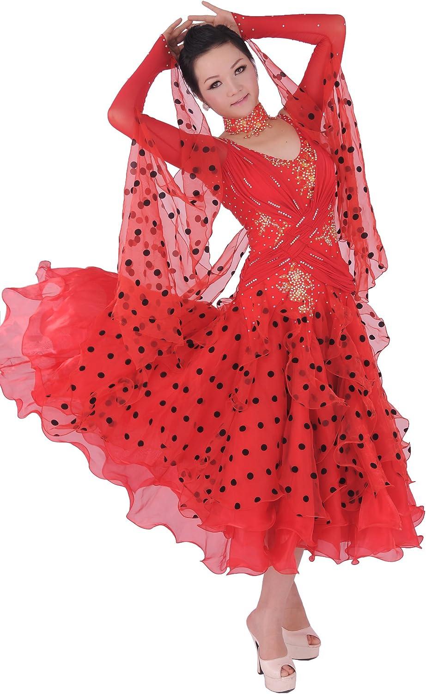 colorfulworldstore Tailored Women Waltz Tango Ballroom Modern Dance Dress Red