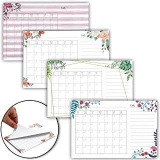 Calendar Sticky Notes, Leaf and Floral Design (6 x 4 Inches, 4-Pack)