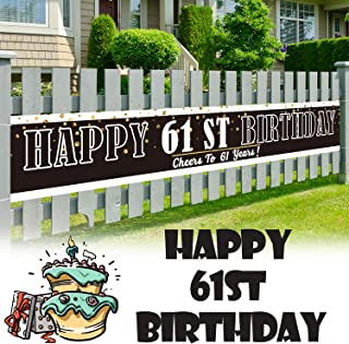 LINGPAR 9.8 x 1.6 ft Large Sign Happy 61st Birthday Banner - Cheers to 61 Years Old Decor