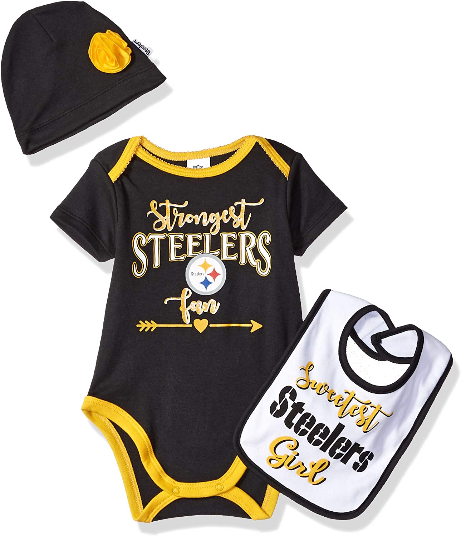 NFL Baby-Girls Bodysuit Bib /& Cap Set