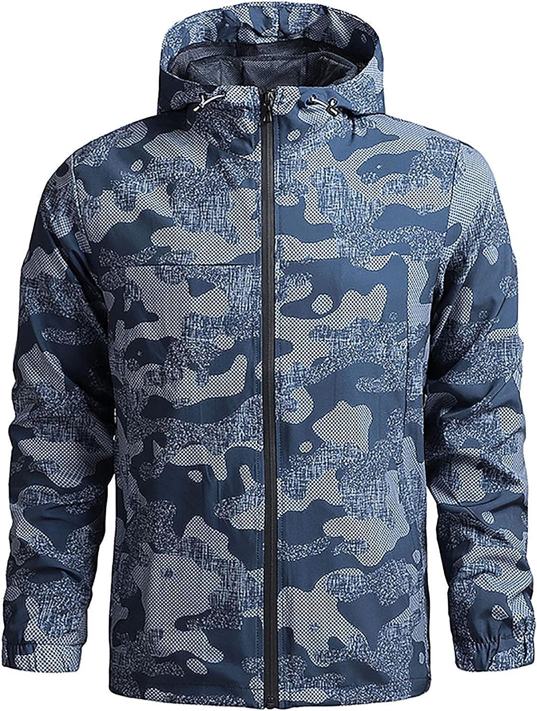 Men's Fashion Lightweight Rain Jacket Waterproof Raincoat Windbreaker Hooded Active Outdoor Shell Jacket
