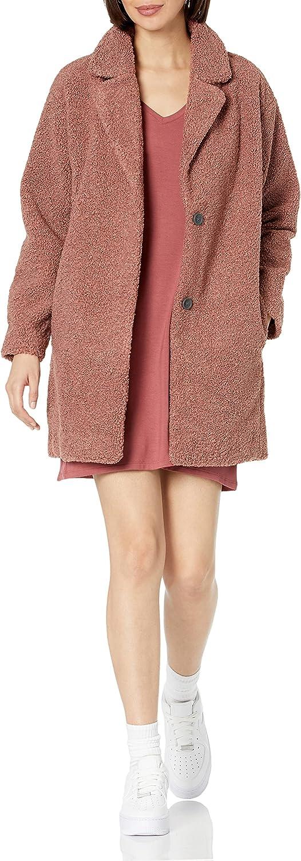 Amazon Brand - Daily Ritual Women's Teddy Bear Fleece Oversized-Fit Lapel Coat