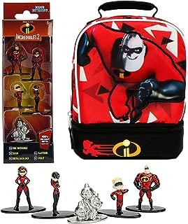 Team Incredibles Character 2 Pack Cooler Lunch Tote Bag Super Heroes + Figure Set Jack Jack Adventure Character Powers 5 Pack