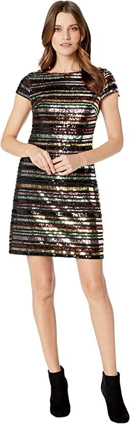 Sequin Cap Sleeve Shift Dress