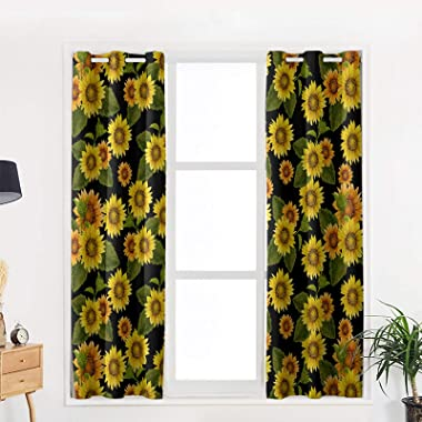 OneHoney Abstract Blooming Flowers Yellow Sunflowers Blackout Window Curtains for Living Room Bedroom, Grommet Thermal Insula