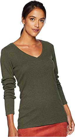 Long Sleeve Cotton Rib V-Neck
