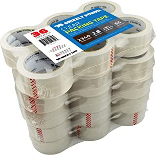 Grizzly Power Clear Packing Tape Refill Rolls for Shipping, Moving, Packaging - True 2 Inch x 65 Yards, 3 Inch Core, 2.8mil Thick, 36 Rolls Bulk Case