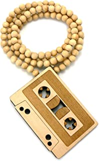 NYFASHION101 Vintage Cassette Tape Wood Pendant 36