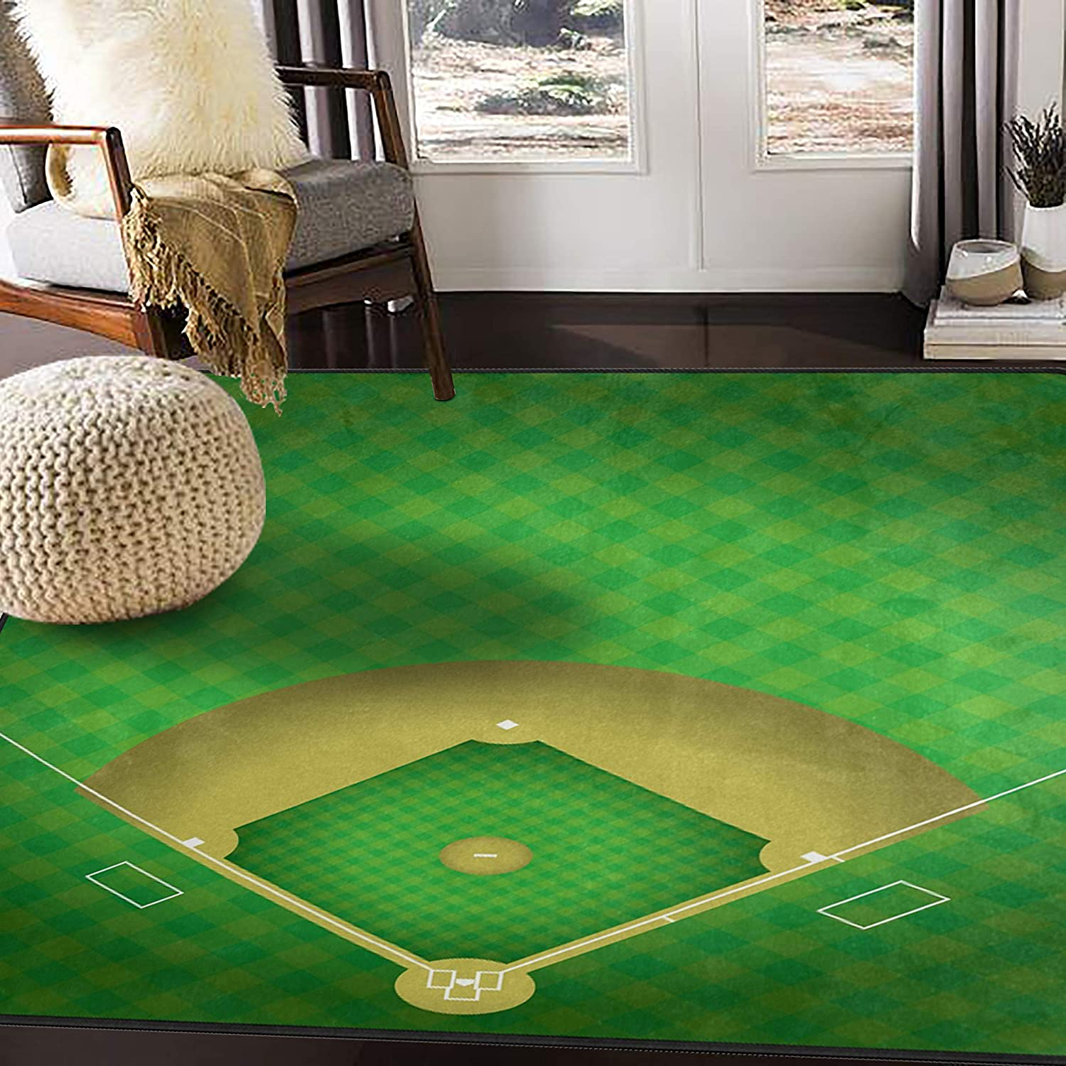 ALAZA Baseball Field Green Sport Area Max 47% OFF for Rug Rugs Living B Room online shop