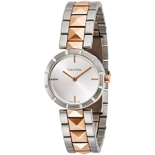 5b4f8d29f2a Calvin Klein Edge Womens Two Tone Stainless Steel Plated Rose Gold Watch  with Metal Band -