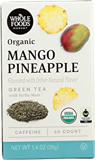 Whole Foods Market, Organic Green Tea with Yerba Mate, Mango Pineapple (20 Count), 1.4 Ounce