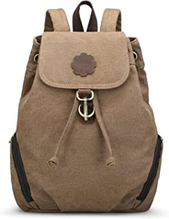 Canvas Leather Backpack Vintage School Bag Travel Rucksack for women by COOLCY