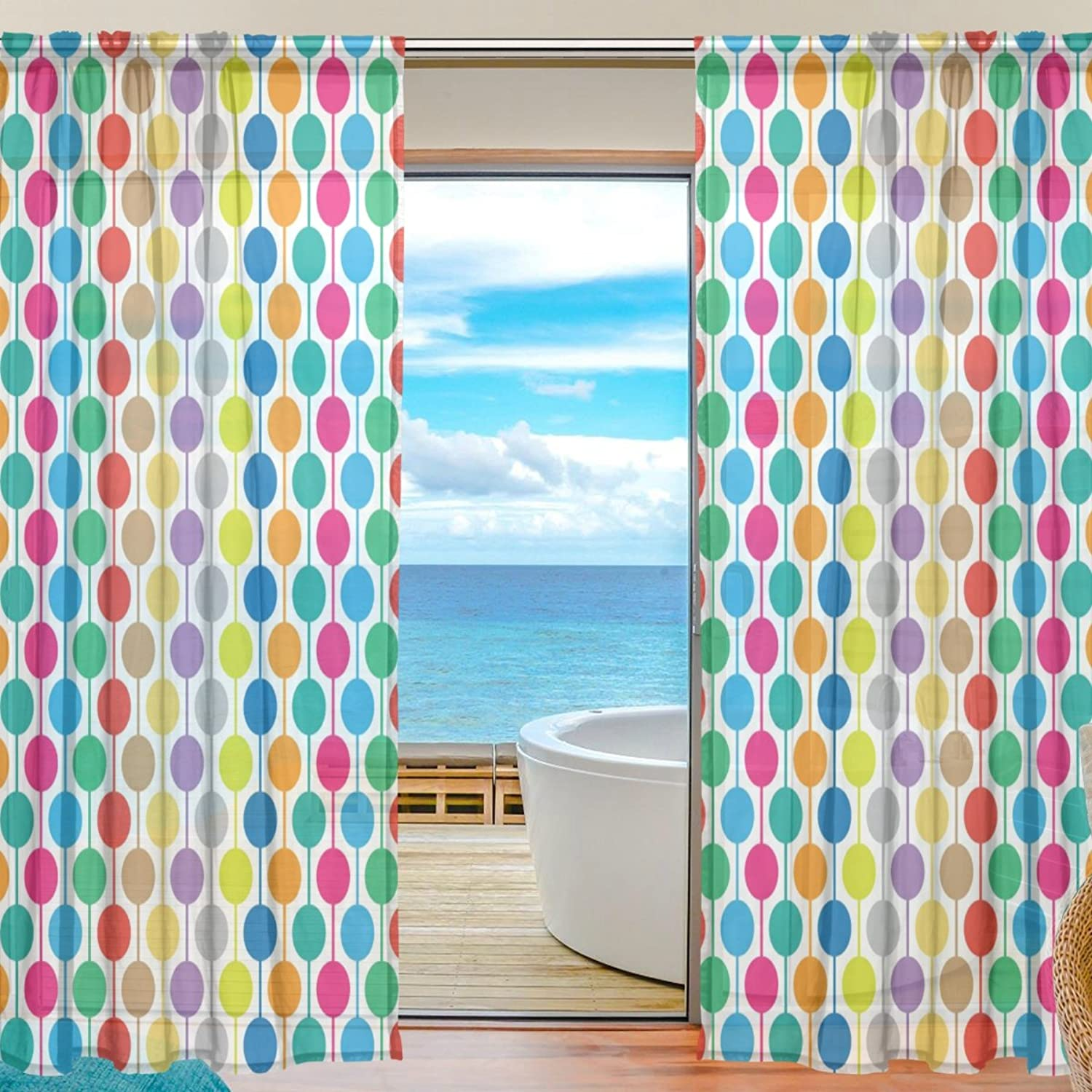 Vantaso Sheer Curtains 78 inch Long Vector colorful Dots Background for Kids Girls Bedroom Living Room Window Decorative 2 Panels