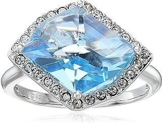 Sterling Silver Swarovski Aquamarine Crystal and Clear Crystal Fancy Ring, Size 7