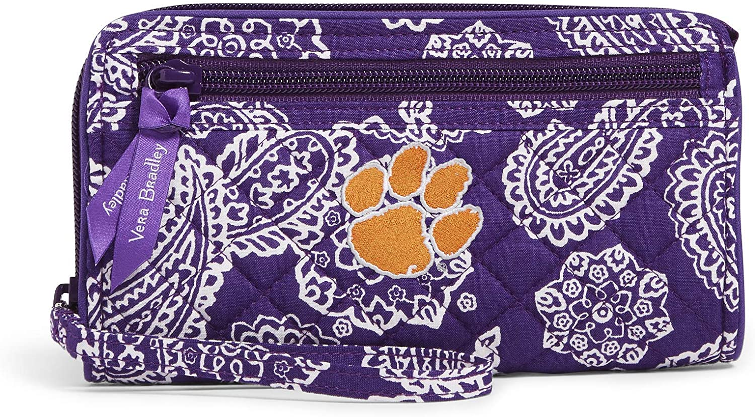 Vera Bradley Cotton Collegiate Front Zip Wristlet with RFID Protection (Multiple Teams Available)
