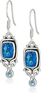 Sajen Sterling Silver Pariba and Blue Topaz Quartz Earrings