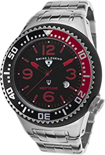 Swiss Legend Neptune Men's Black Dial Stainless Steel Band Watch - SL-21819P-11-RB