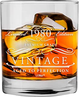 1980 40th Birthday Gifts Men Women | Birthday Gift for Man Woman turning 40 | Funny 40 th Party Supplies Decorations Ideas | Forty Year Old Bday Whiskey Glass | 40 Years Gag Vintage Dude Presents Mens