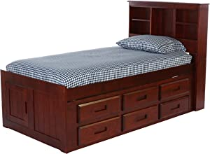 Discovery World Furniture Bookcase Captains Bed with 6 Drawer Storage, Twin, Merlot