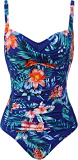 Joyaria Womens Retro One Piece Swimsuit Tummy Control Slimming Bathing Suit Ruched Swimwear(Size 6-24w)