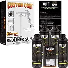 U-POL Raptor Black Urethane Spray-On Truck Bed Liner Kit w/FREE Custom Coat Spray Gun with Regulator, 4 Quart Kit