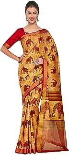 Kupinda Art Kalamkari Prints Saree with ikkat, pochampally and Kanjivaram Print Pattren ith Contrast Blouse Color: Brown (4258-RP2-SALN-20-CKU)