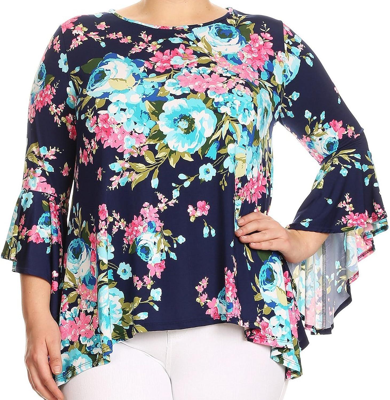 BNY Women Plus Size Floral Print Flutter Sleeves Asymmetric Knit Top Tee Shirt
