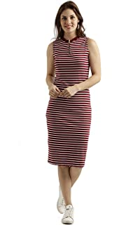 Miss Chase Women's Body Con Midi Dress (MCSS17D07-87-139_Maroon and White_Small)