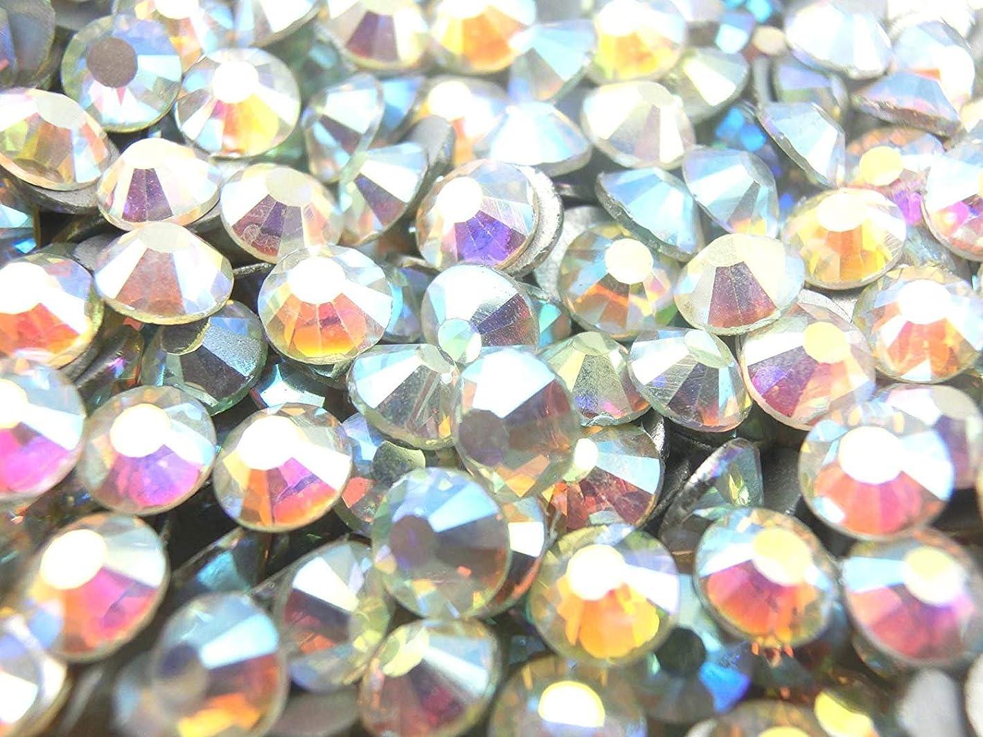 塩同様の二十【ラインストーン77】 超高級 ガラス製ラインストーン SS3~SS40 オーロラクリスタル スワロフスキー同等 (6.3mm (SS30) 約280粒)