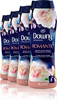 Downy Infusions in-Wash Scent Booster Beads, Romantic, White Tea & Peony, 10 Ounce, 4 Count, Pack of Four