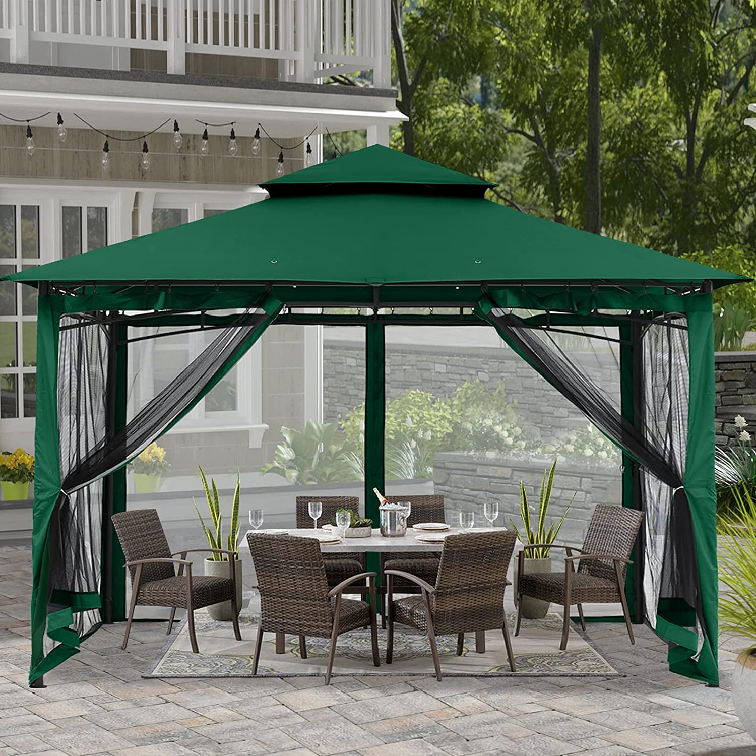 ABCCANOPY 10x12 Patio Gazebos for Patios Double Roof Soft Canopy Garden Gazebo with Mosquito Netting for Shade and Rain, Forest Green