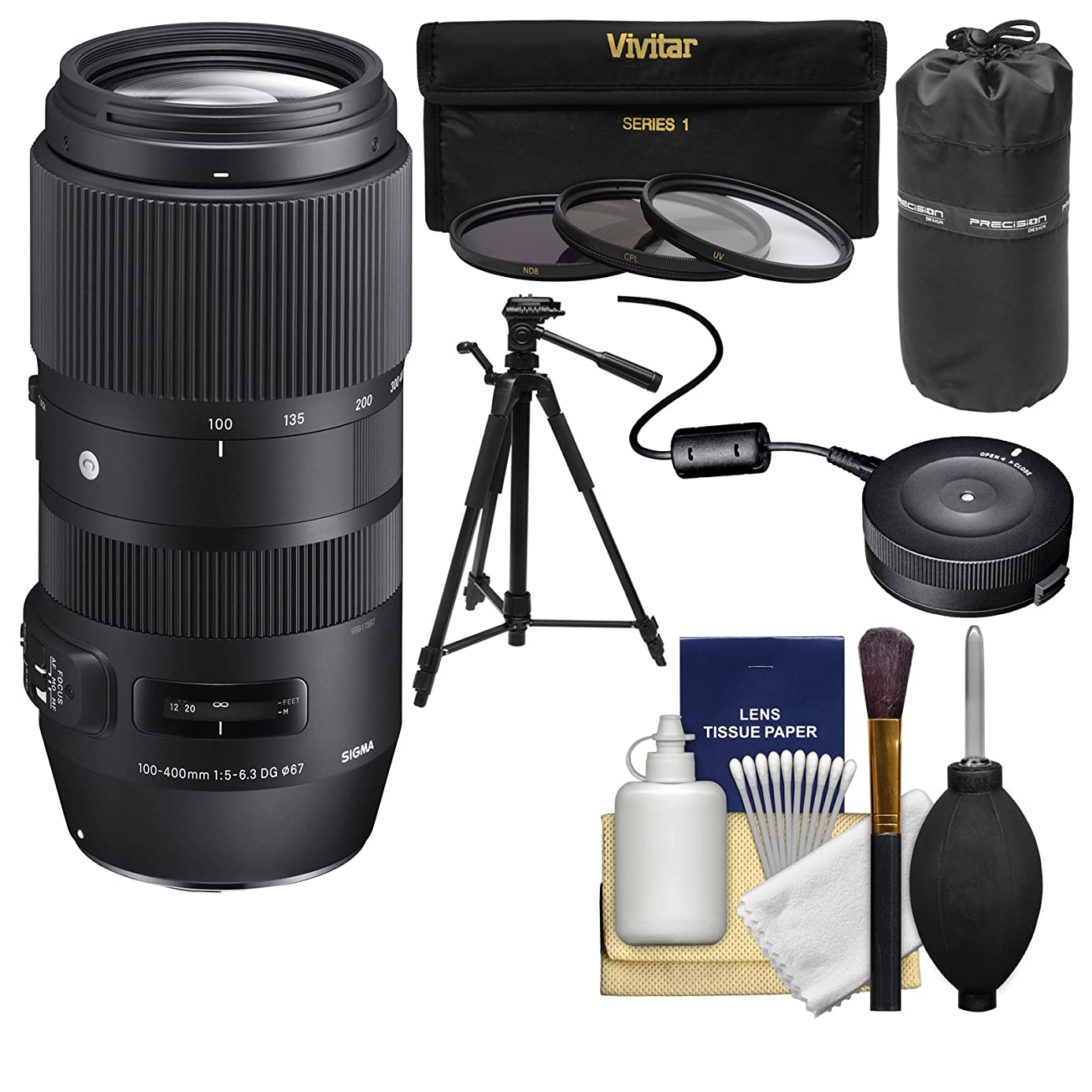 Sigma 100-400mm f/5.0-6.3 Contemporary DG OS HSM Zoom Lens with USB Dock + 3 UV/CPL/ND8 Filters + Tripod + Pouch + Kit for Canon EOS DSLR Cameras