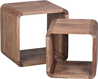 Wohnling 2er-  Mesa auxiliar de juego de cubos con diseño de estantería