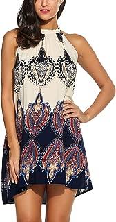 blue paisley halter dress